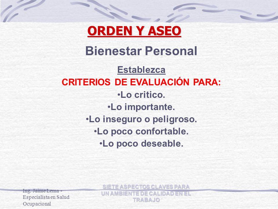 ORDEN Y ASEO Bienestar Personal Establezca