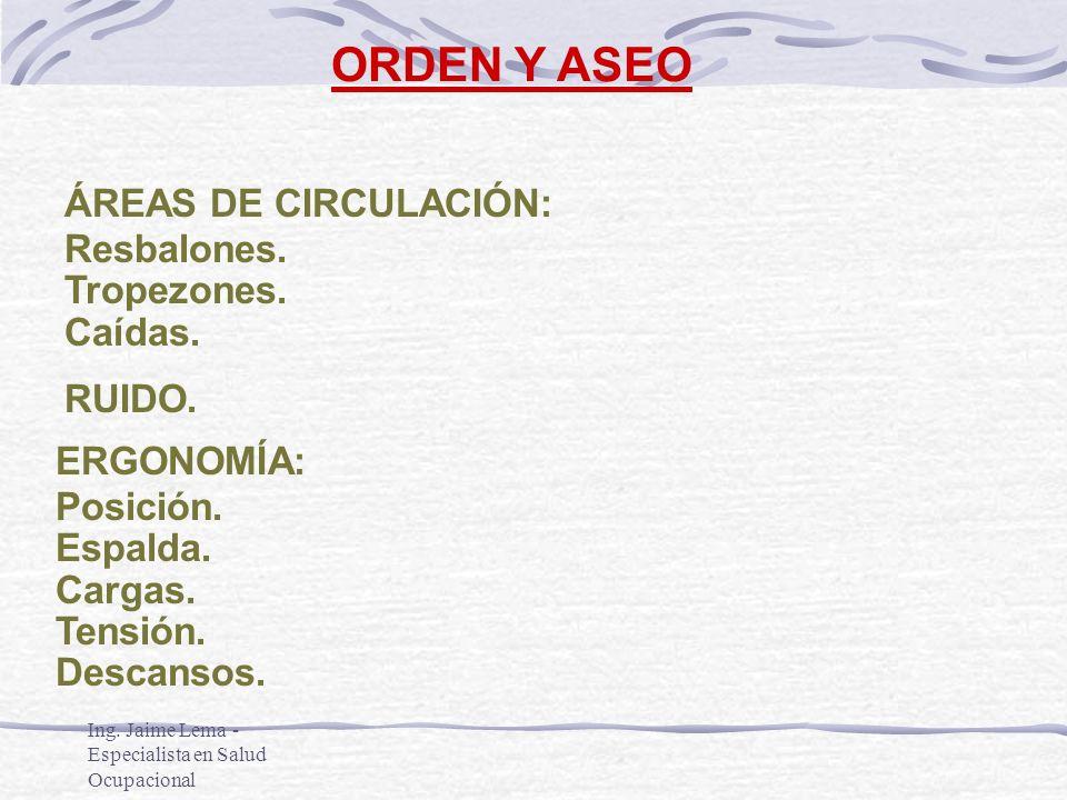 ORDEN Y ASEO ÁREAS DE CIRCULACIÓN: Resbalones. Tropezones. Caídas.