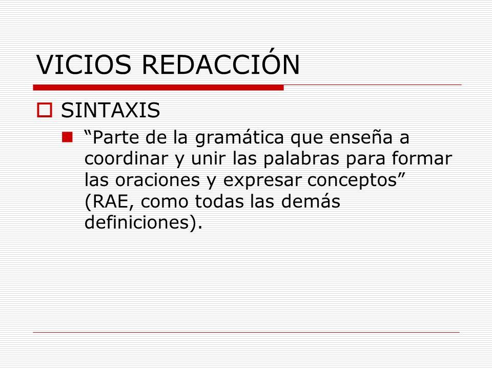 VICIOS REDACCIÓN SINTAXIS