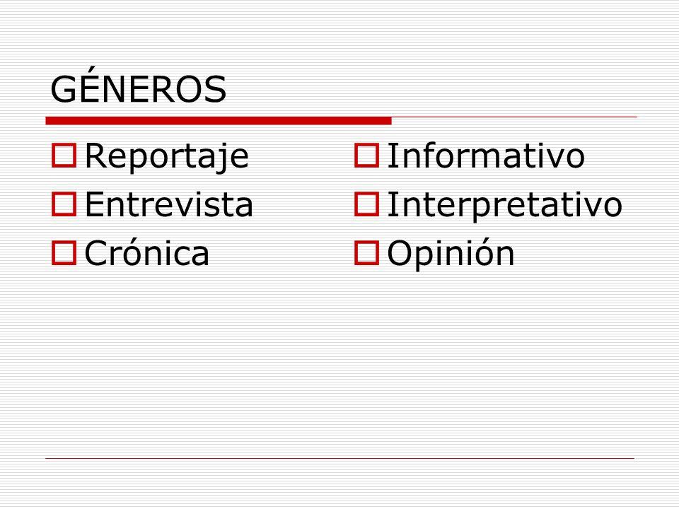 GÉNEROS Reportaje Entrevista Crónica Informativo Interpretativo