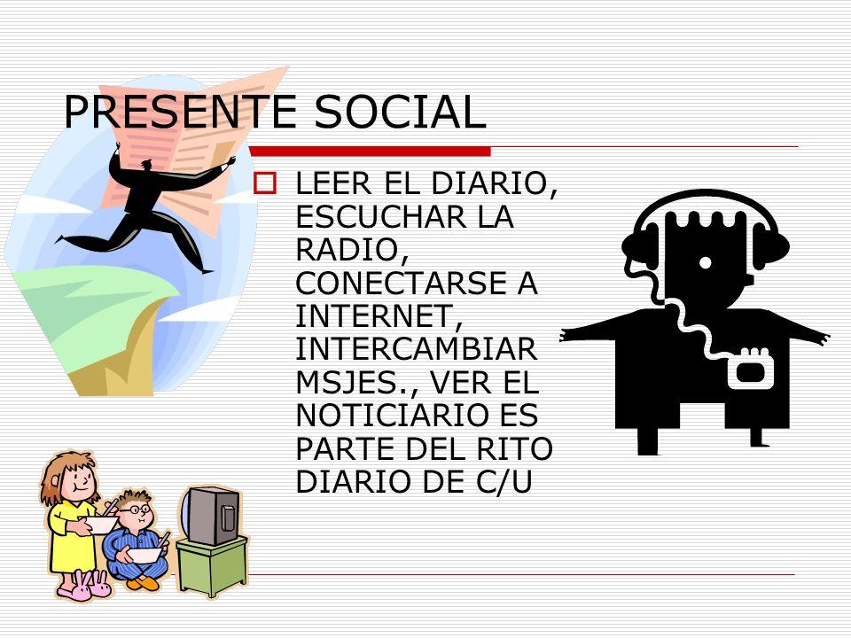 PRESENTE SOCIAL LEER EL DIARIO, ESCUCHAR LA RADIO, CONECTARSE A INTERNET, INTERCAMBIAR MSJES., VER EL NOTICIARIO ES PARTE DEL RITO DIARIO DE C/U.