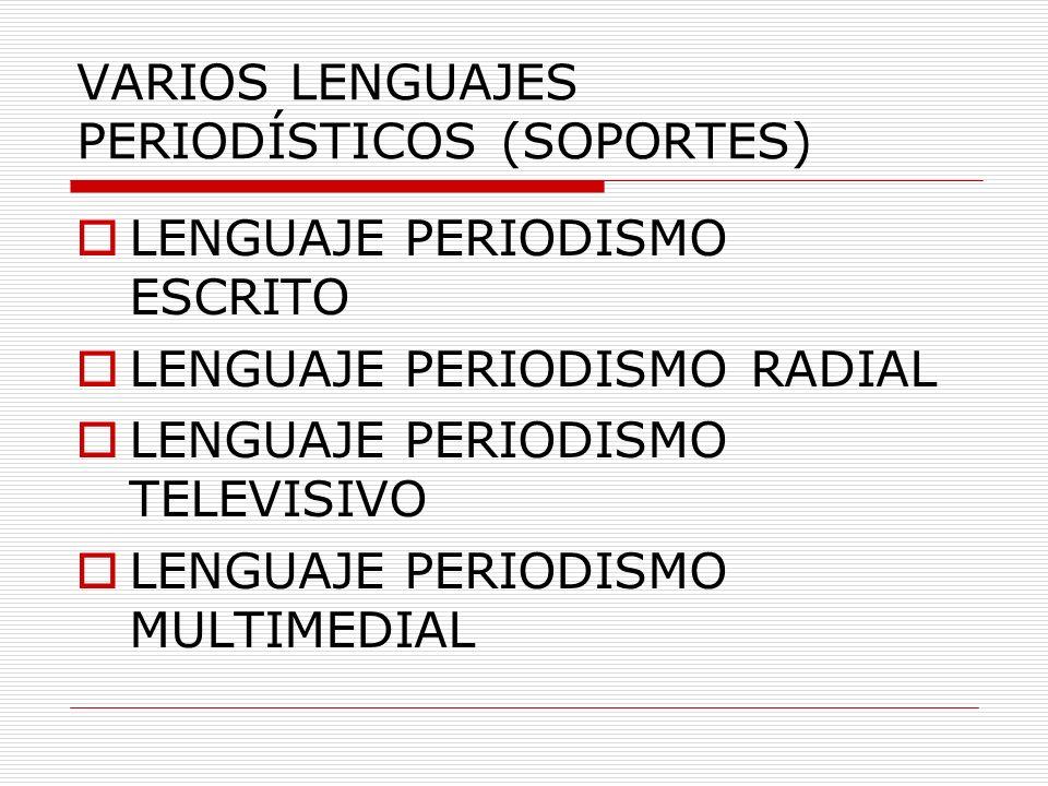 VARIOS LENGUAJES PERIODÍSTICOS (SOPORTES)