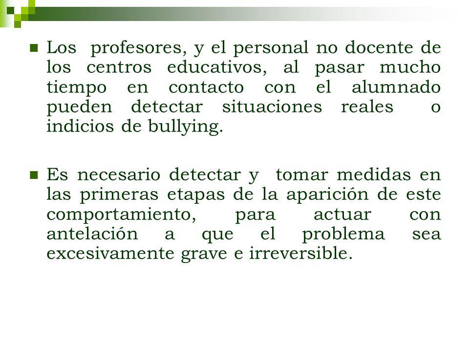 Los profesores, y el personal no docente de los centros educativos, al pasar mucho tiempo en contacto con el alumnado pueden detectar situaciones reales o indicios de bullying.