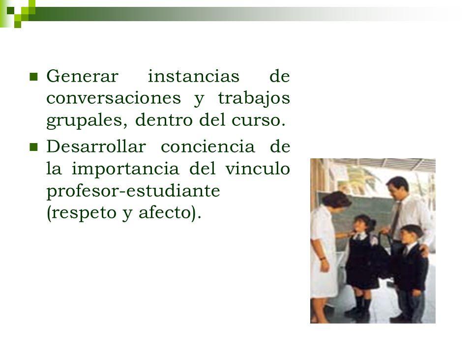 Generar instancias de conversaciones y trabajos grupales, dentro del curso.