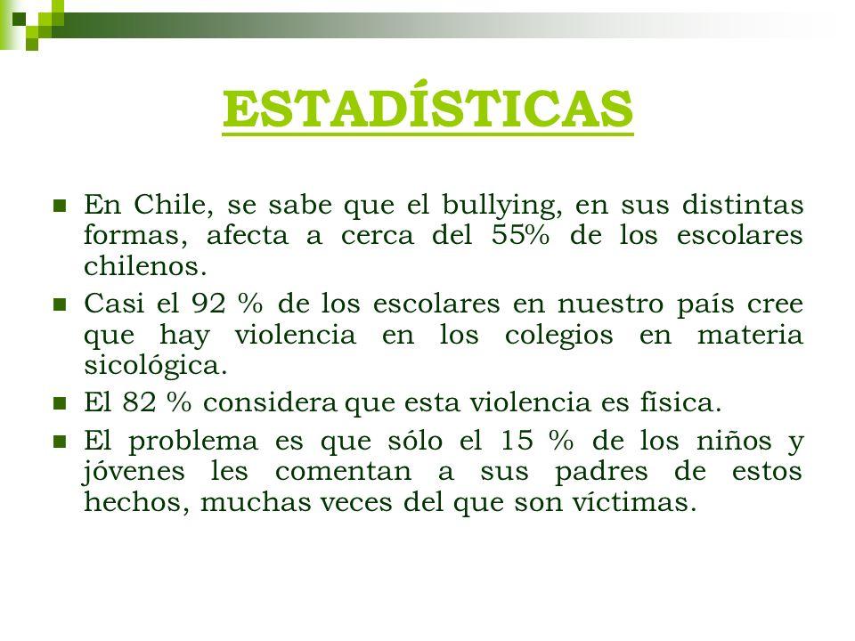 ESTADÍSTICAS En Chile, se sabe que el bullying, en sus distintas formas, afecta a cerca del 55% de los escolares chilenos.