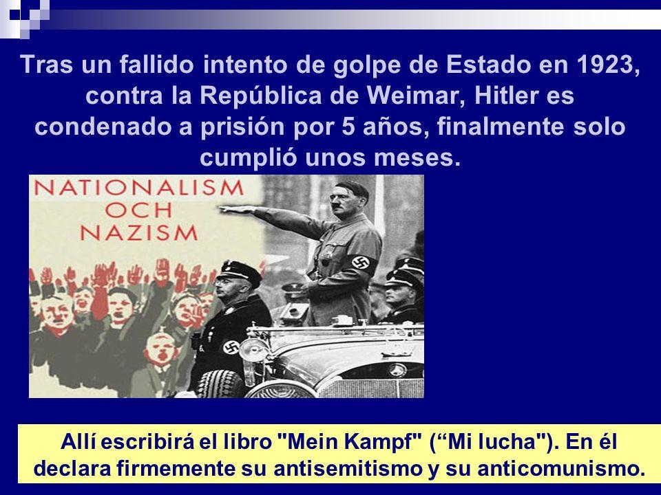 Tras un fallido intento de golpe de Estado en 1923, contra la República de Weimar, Hitler es condenado a prisión por 5 años, finalmente solo cumplió unos meses.