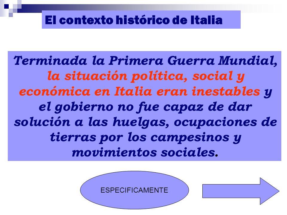 El contexto histórico de Italia