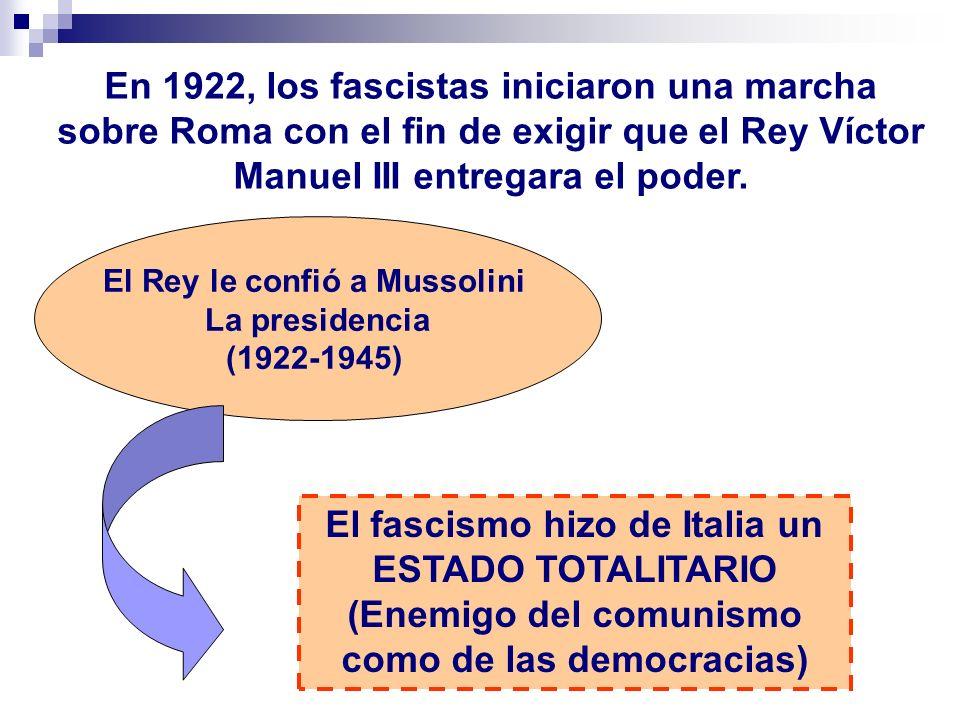 El Rey le confió a Mussolini