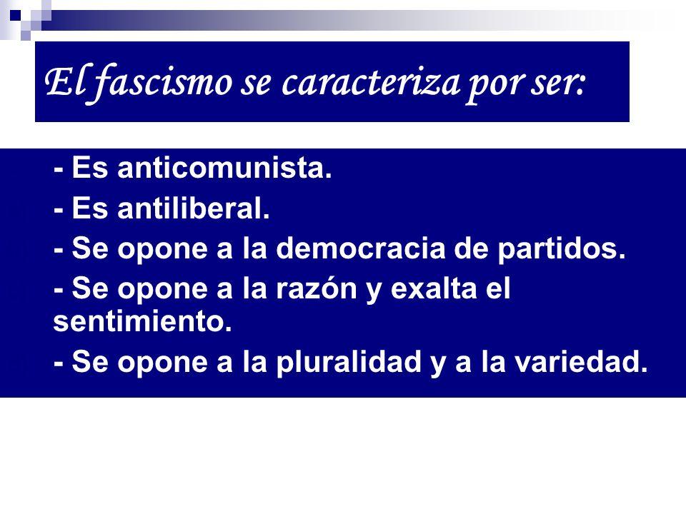 El fascismo se caracteriza por ser: