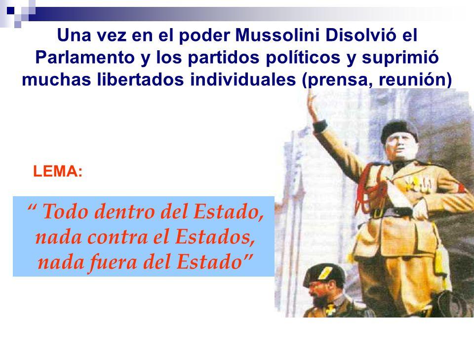 Una vez en el poder Mussolini Disolvió el Parlamento y los partidos políticos y suprimió muchas libertados individuales (prensa, reunión)