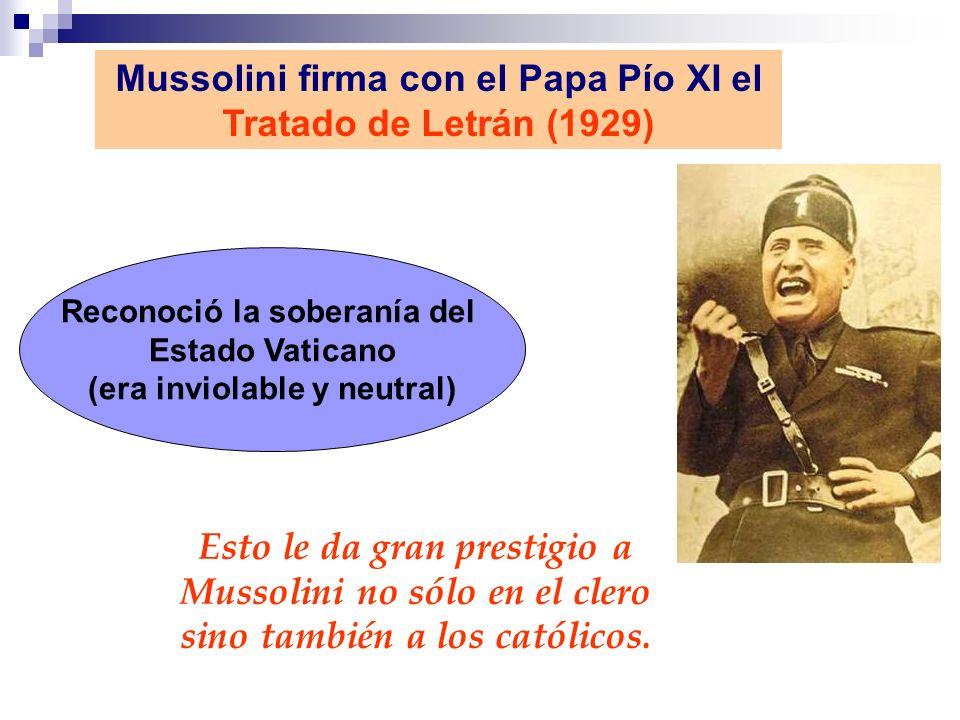 Mussolini firma con el Papa Pío XI el Tratado de Letrán (1929)