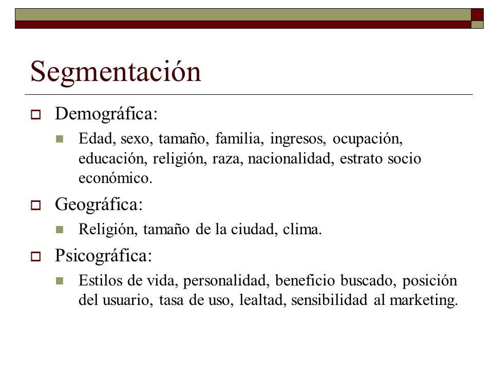 Segmentación Demográfica: Geográfica: Psicográfica: