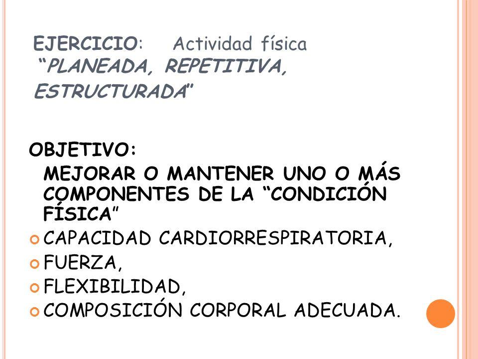 EJERCICIO: Actividad física PLANEADA, REPETITIVA, ESTRUCTURADA