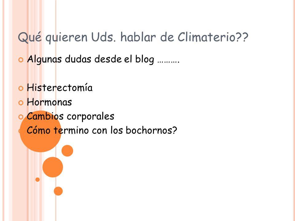 Qué quieren Uds. hablar de Climaterio