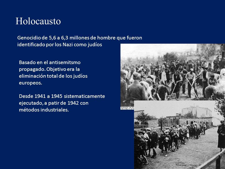 Holocausto Genocidio de 5,6 a 6,3 millones de hombre que fueron identificado por los Nazi como judíos.