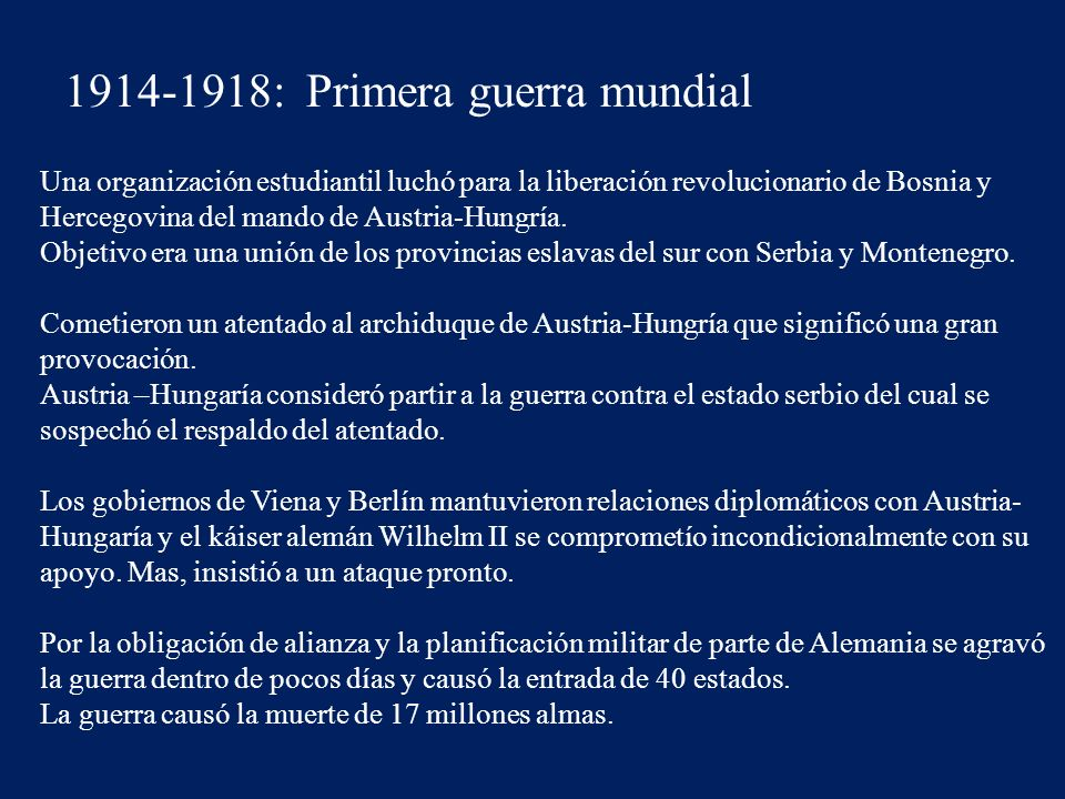 1914-1918: Primera guerra mundial