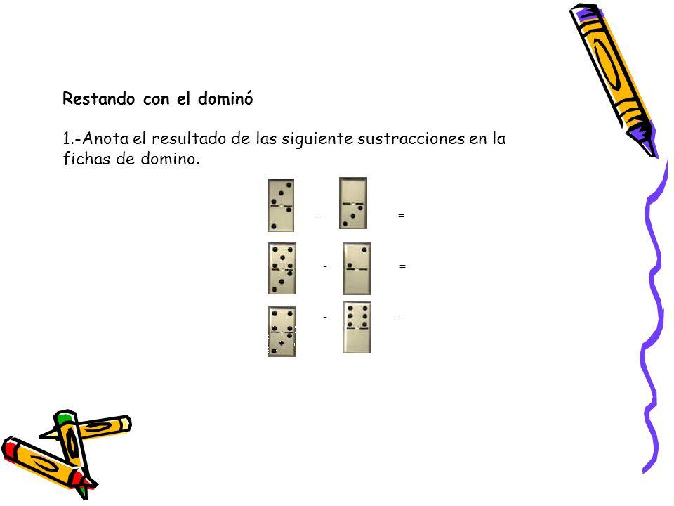 Restando con el dominó 1.-Anota el resultado de las siguiente sustracciones en la fichas de domino.