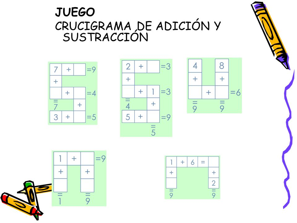 JUEGO CRUCIGRAMA DE ADICIÓN Y SUSTRACCIÓN