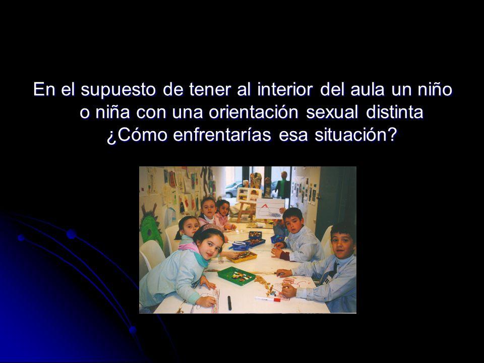 En el supuesto de tener al interior del aula un niño o niña con una orientación sexual distinta ¿Cómo enfrentarías esa situación