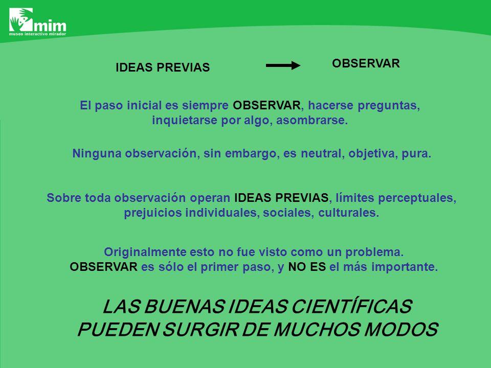 LAS BUENAS IDEAS CIENTÍFICAS PUEDEN SURGIR DE MUCHOS MODOS