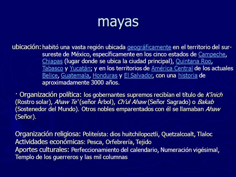 mayas ubicación: