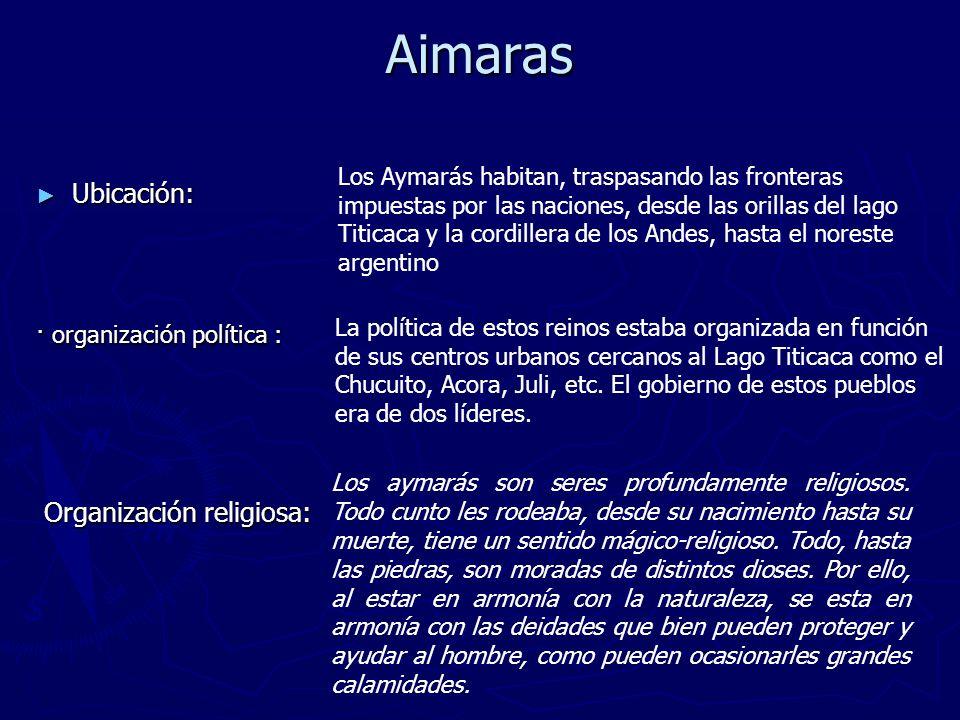 Aimaras Ubicación: Organización religiosa: