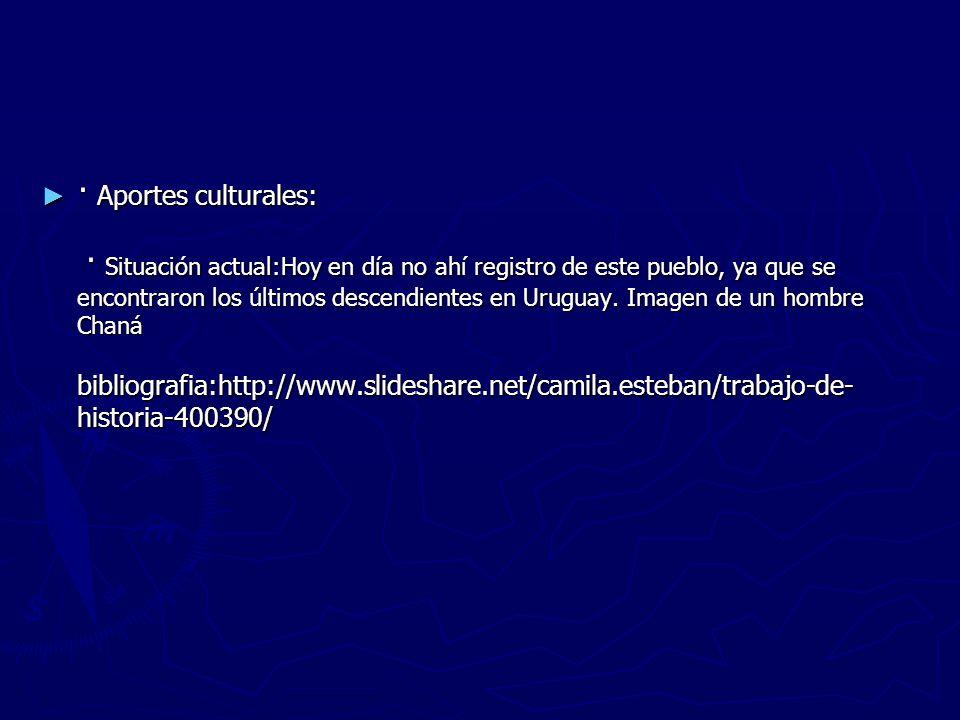 · Aportes culturales: · Situación actual:Hoy en día no ahí registro de este pueblo, ya que se encontraron los últimos descendientes en Uruguay.