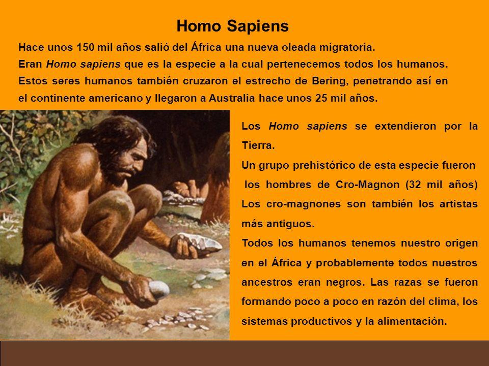 Homo Sapiens Hace unos 150 mil años salió del África una nueva oleada migratoria.