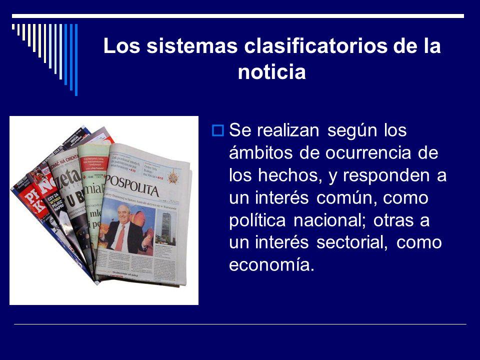 Los sistemas clasificatorios de la noticia