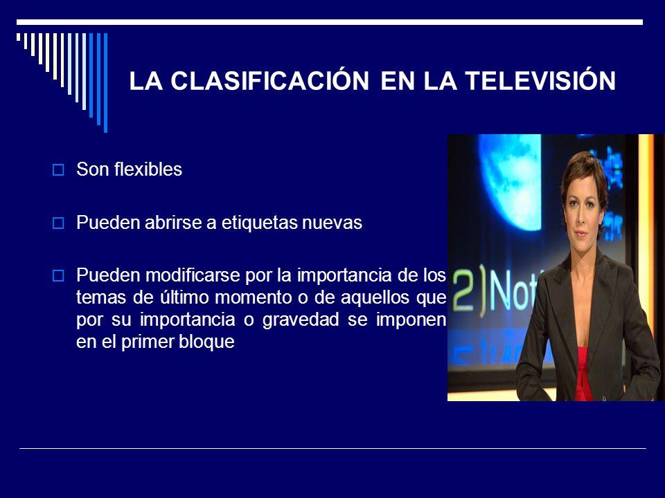 LA CLASIFICACIÓN EN LA TELEVISIÓN