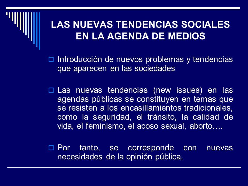LAS NUEVAS TENDENCIAS SOCIALES EN LA AGENDA DE MEDIOS
