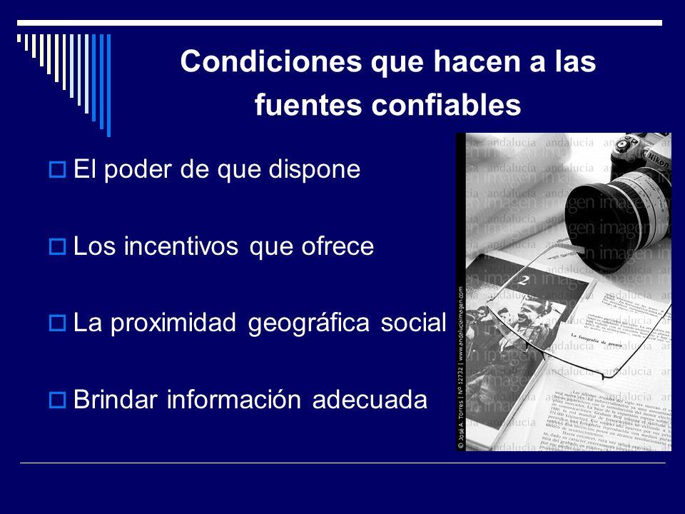 Condiciones que hacen a las fuentes confiables