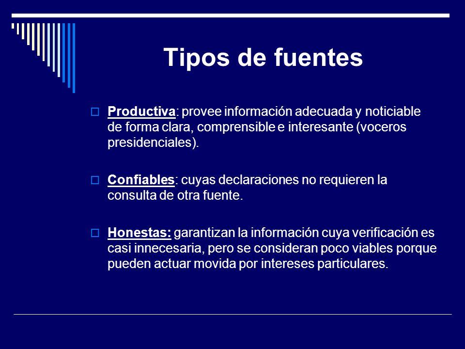 Tipos de fuentes Productiva: provee información adecuada y noticiable de forma clara, comprensible e interesante (voceros presidenciales).