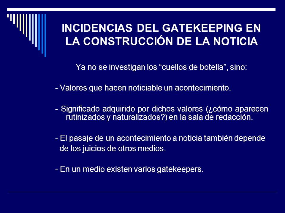 INCIDENCIAS DEL GATEKEEPING EN LA CONSTRUCCIÓN DE LA NOTICIA