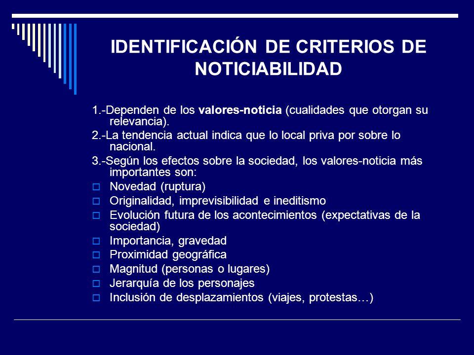 IDENTIFICACIÓN DE CRITERIOS DE NOTICIABILIDAD
