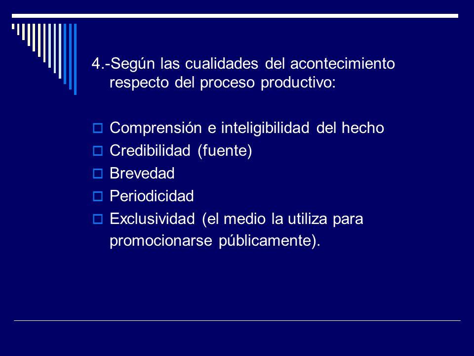 4.-Según las cualidades del acontecimiento respecto del proceso productivo: