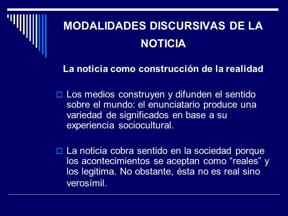 MODALIDADES DISCURSIVAS DE LA NOTICIA