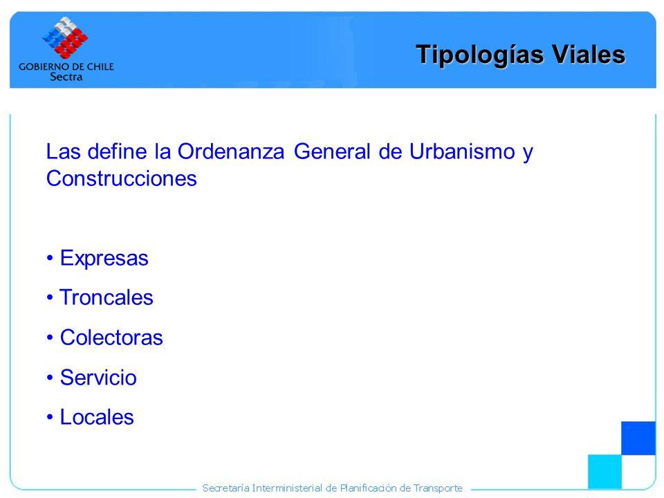 Tipologías Viales Las define la Ordenanza General de Urbanismo y Construcciones. Expresas. Troncales.