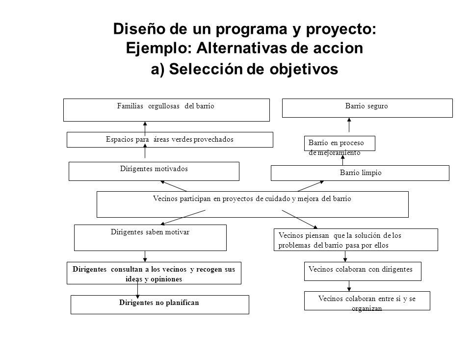 Diseño de un programa y proyecto: Ejemplo: Alternativas de accion a) Selección de objetivos