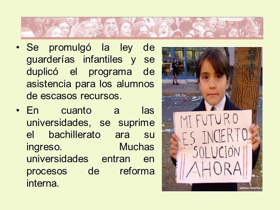 Se promulgó la ley de guarderías infantiles y se duplicó el programa de asistencia para los alumnos de escasos recursos.