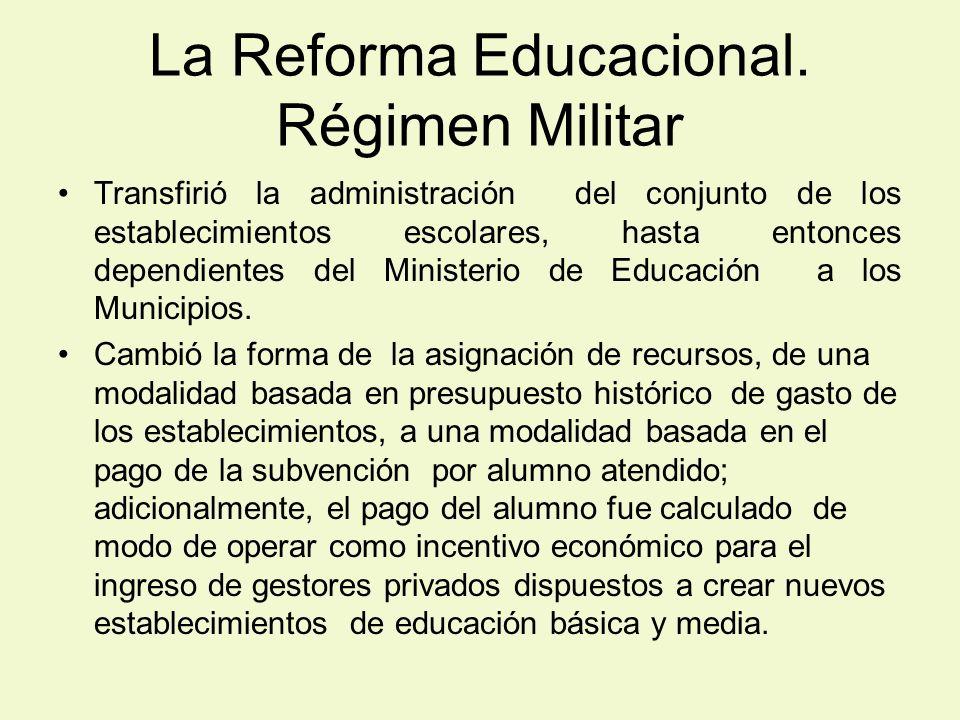 La Reforma Educacional. Régimen Militar