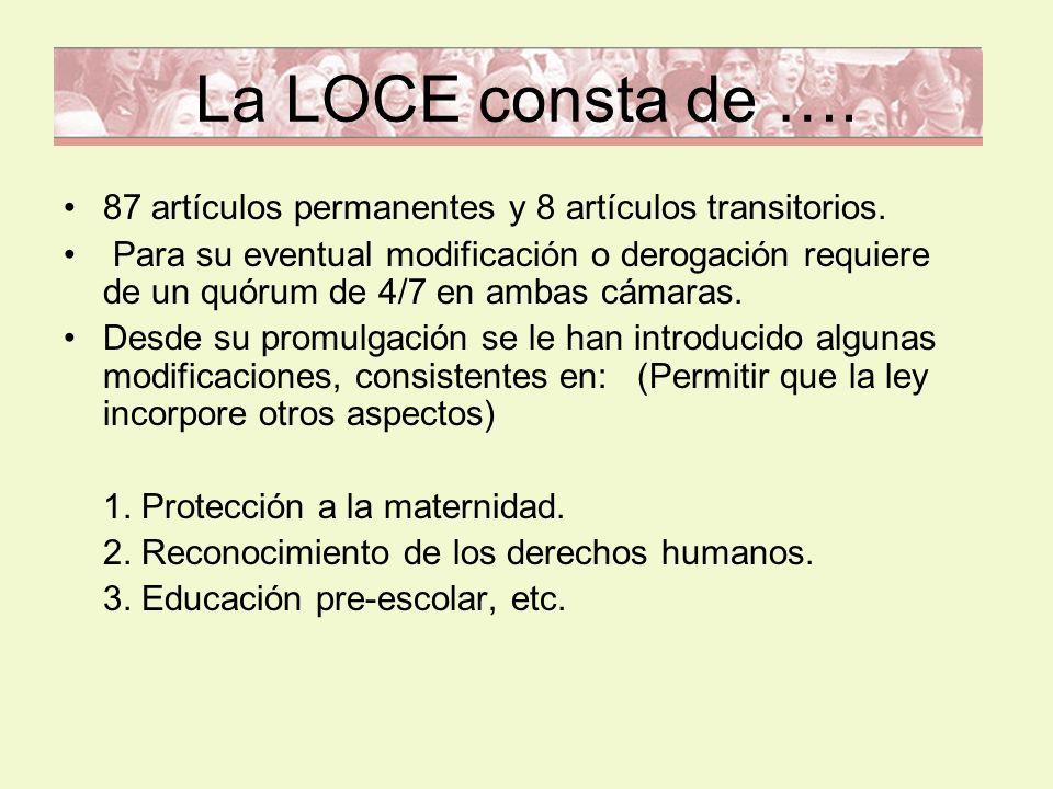 La LOCE consta de …. 87 artículos permanentes y 8 artículos transitorios.