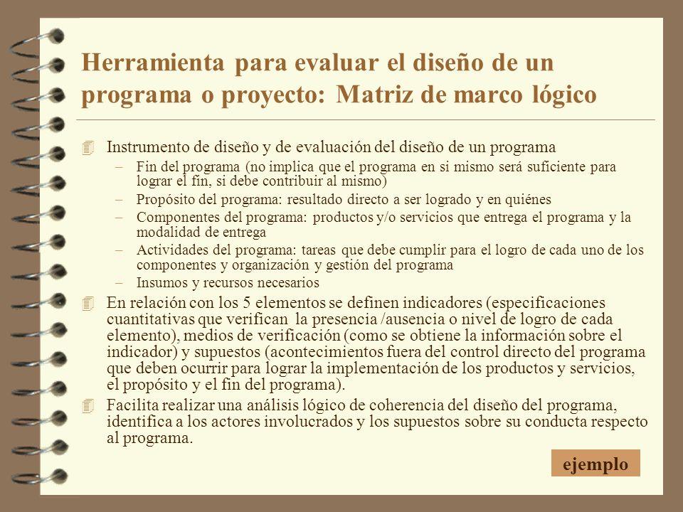 Herramienta para evaluar el diseño de un programa o proyecto: Matriz de marco lógico