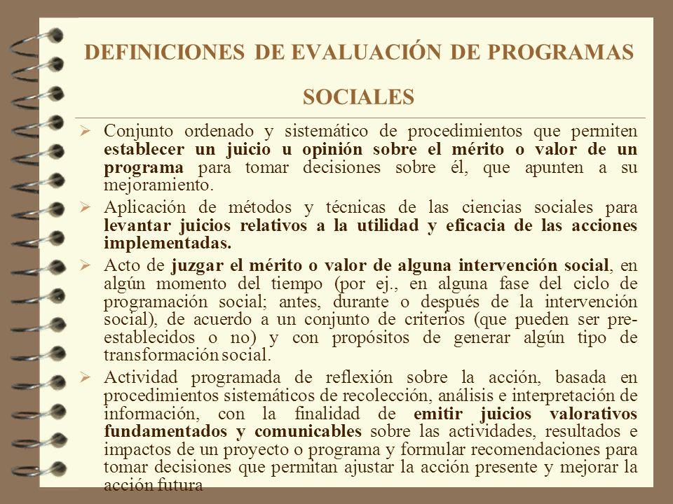 DEFINICIONES DE EVALUACIÓN DE PROGRAMAS SOCIALES