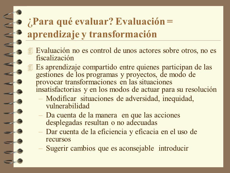 ¿Para qué evaluar Evaluación = aprendizaje y transformación