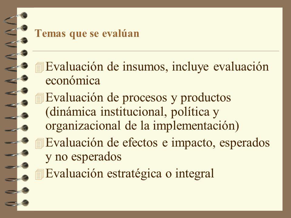 Evaluación de insumos, incluye evaluación económica