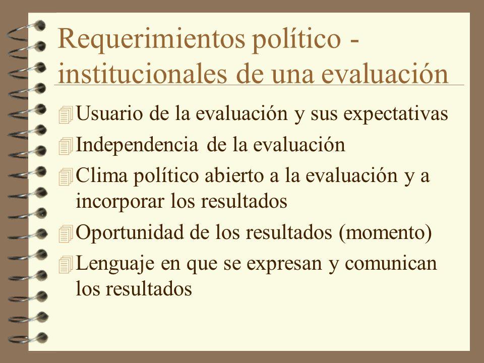 Requerimientos político - institucionales de una evaluación