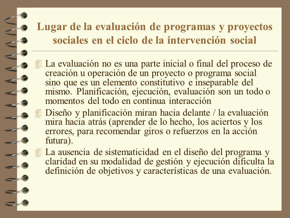 Lugar de la evaluación de programas y proyectos sociales en el ciclo de la intervención social