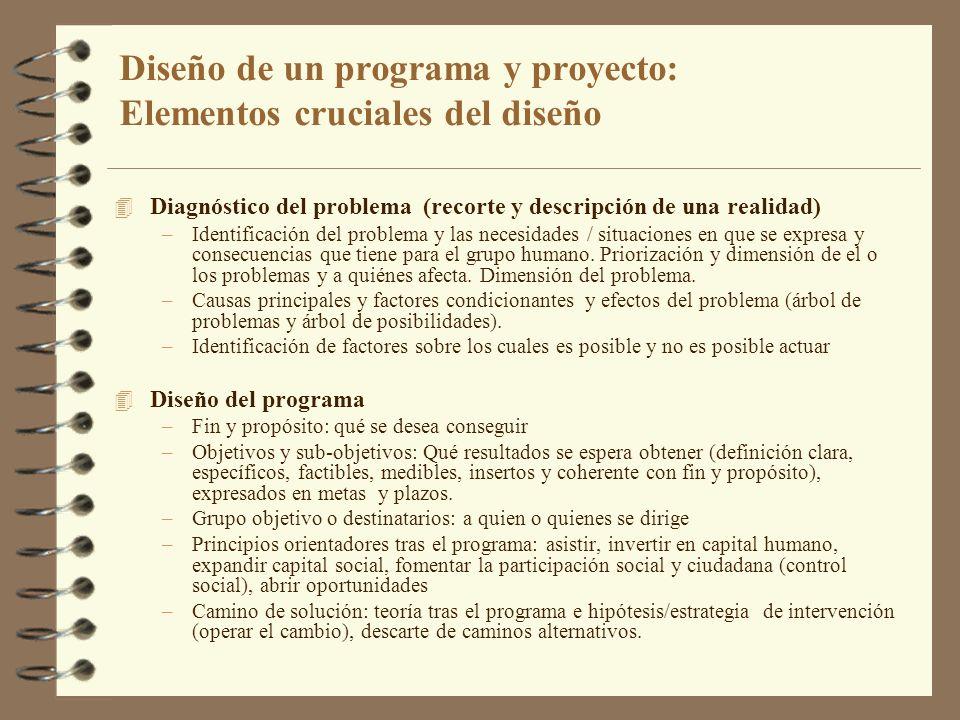 Diseño de un programa y proyecto: Elementos cruciales del diseño