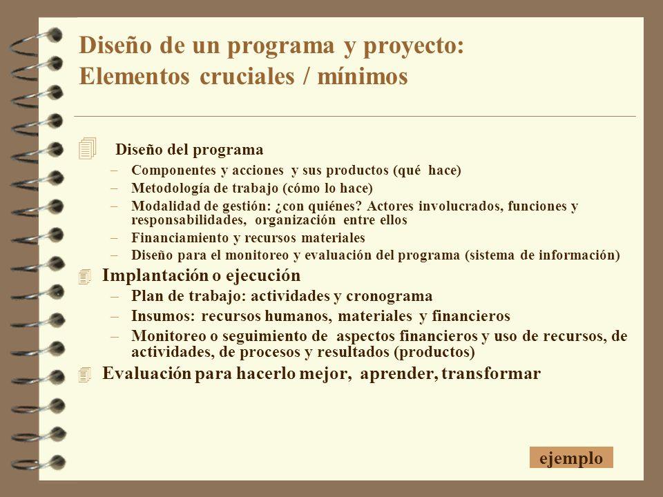 Diseño de un programa y proyecto: Elementos cruciales / mínimos